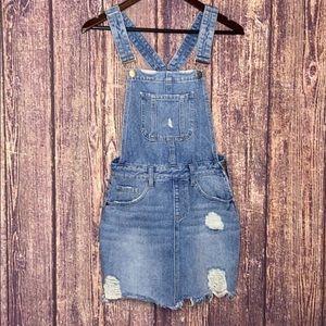 8TH OF LA distressed overall denim mini dress SM